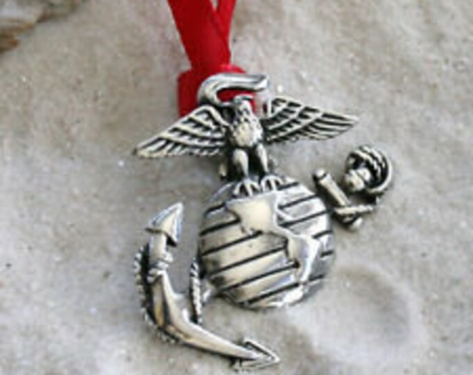 Featured listing image: Pewter Marine Corps Emblem USMC Semper Fi Christmas Ornament and Holiday Decoration (Licensed Hobbyist)
