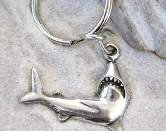 Pewter Shark Great White Keychain Key Ring (32F-KC)