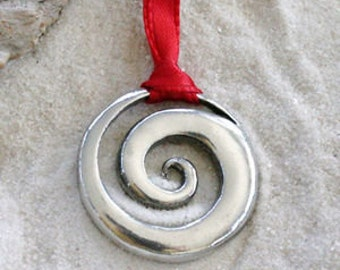 Pewter Spiral Swirl Celtic Pagan Sun Christmas Ornament and Holiday Decoration (48E)