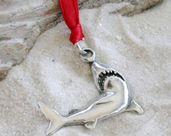 Pewter Shark Great White Christmas Ornament and Holiday Decoration  (32F)
