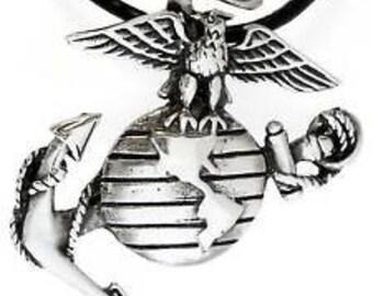 Pewter Marine Corps Emblem USMC Semper Fi Pendant Necklace