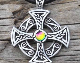 Pewter SOLAR CROSS Celtic Druid Irish RAINBOW Austrian Crystal Pendant