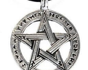 Pewter Pentagram Pagan Wiccan Pentacle with Ancient Runes Pendent (50G)