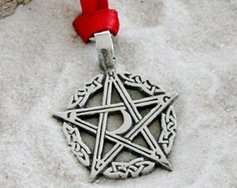 Pewter Pentagram Crescent Moon Pagan Pentacle Christmas Ornament and Holiday Decoration (304)
