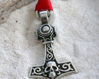 Pewter Thor's Hammer w/ Skull Mjolnir Norse Viking Christmas Ornament and Holiday Decoration (39H)