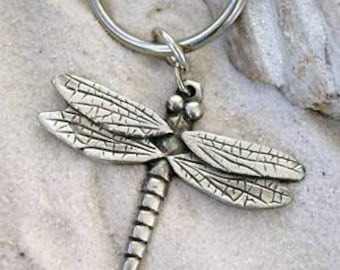 Pewter Dragonfly Fairy Keychain Key Ring (323-KC)