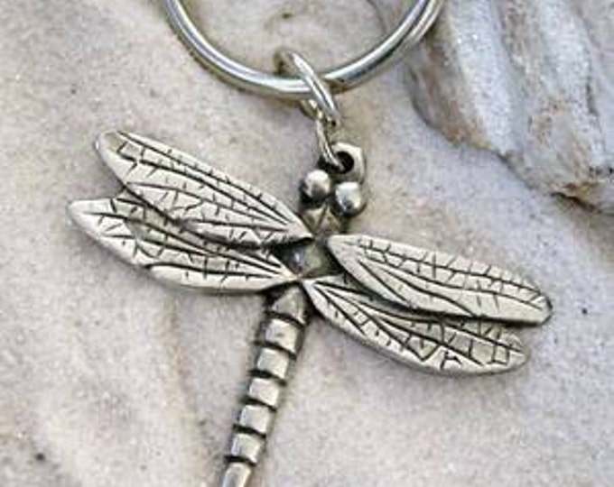 Featured listing image: Pewter Dragonfly Fairy Keychain Key Ring (323-KC)