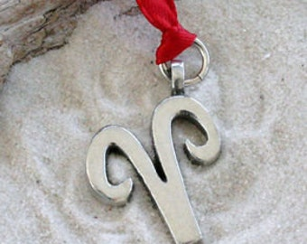 """Pewter Aries """"The Ram"""" Zodiac Astrology Sun Sign of March April Christmas Ornament and Holiday Decoration (27C)"""