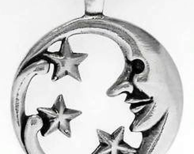 Featured listing image: Pewter Moon Face and Stars Lunar Celestial Pagan Pendant (39E)