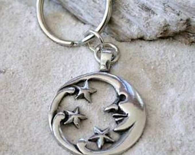 Featured listing image: Pewter Moon Face and Stars Lunar Celestial Pagan Keychain (39E)