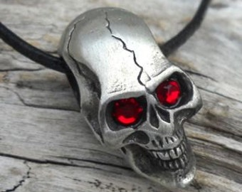 Pewter Skull w/ Swarovski Crystal Red Eyes Gothic Biker Pirate 3-D Pendant (22B)