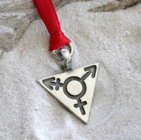 PEWTER Transgender LGBT Bi Gay PRIDE Triangle PENDANT