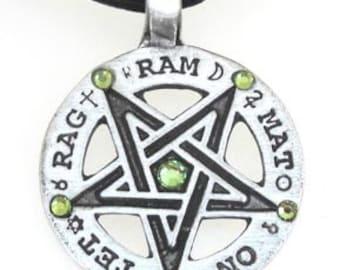 Pewter Inverted Pentagram Tetragrammaton Runes Pendant with Swarovski Crystal Peridot AUGUST Birthstones (55C)