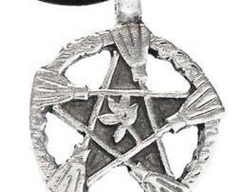 Pentagram Pagan Pentacle Pendent Wiccan Pewter Witch Broom Necklace (30A)