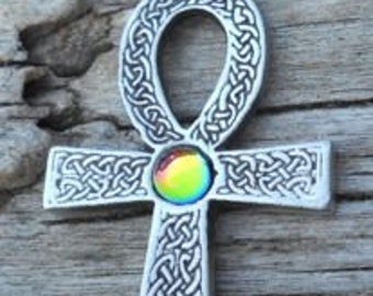 Pewter Ankh Egyptian Cross with Celtic Knots Pendant with Rainbow Crystal  (31G)