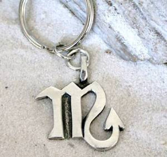 Pewter Zodiac Astrology and Astrological Birthday Keychain