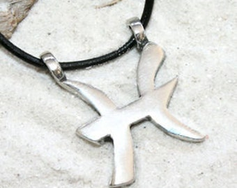 """Pewter Pisces """"The Fish"""" Zodiac Astrology Sun Sign of February March Pendant (27B)"""