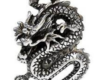 Pewter Chinese Dragon China Pendant on Leather or Cotton Cord (25E)