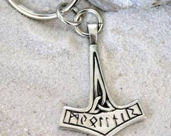 Pewter Thor's Hammer w/ Runes and Triquetra Mjolnir Norse Viking Keychain (35F-KC)