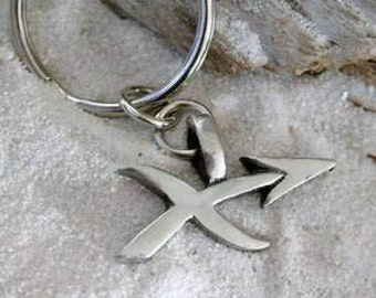 "Pewter Sagittarius ""The Archer"" Zodiac Astrology Sun Sign of November December Keychain Key Ring (28E)"