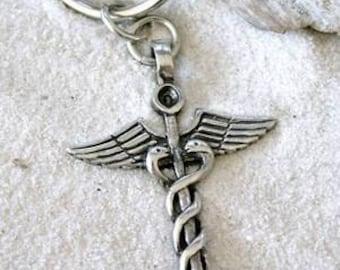 Pewter Caduceus Medical Nurse RN DR Snake Rod Keychain (35A)