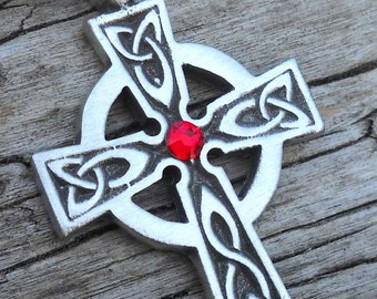 Pewter Celtic Cross Irish Wales Pendant with Swarovski Crystal Ruby Red JULY Birthstone (300)