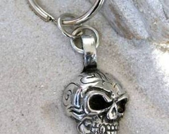 Pewter Skull Tribal Maori Silver Keychain Key Ring (21H-KC)