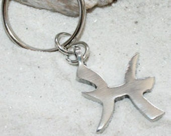 """Pewter Pisces """"The Fish"""" Zodiac Astrology Sun Sign of February March Keychain Key Ring (27B)"""