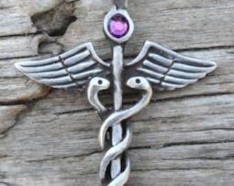 Pewter Caduceus Medical Nurse RN DR Snake Rod Pendant with Swarovski Crystal Purple Amethyst FEBRUARY Birthstone (35A)
