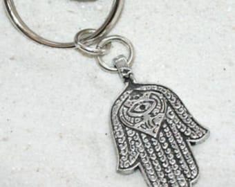 Pewter Hamsa Hand Egyptian Eye of Good Luck Fortune Love Health Keychain Key Ring (301-KC)