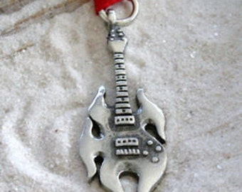 Pewter Guitar Electric Flame Christmas Ornament and Holiday Decoration (53D)