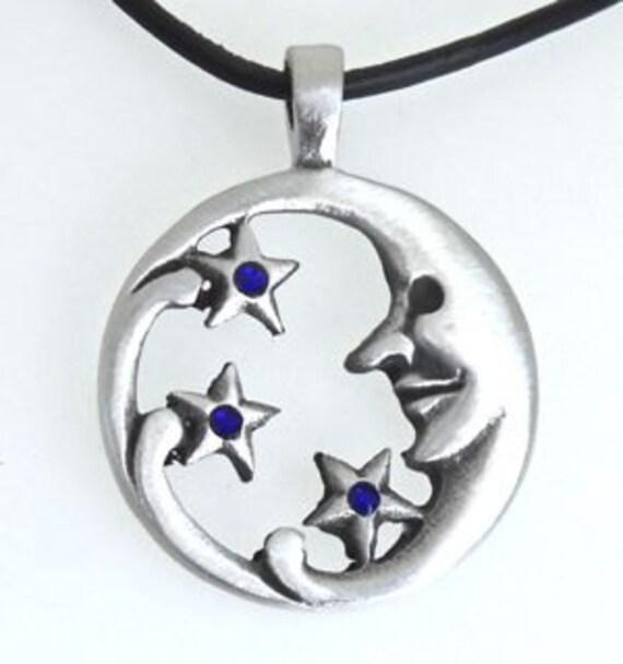 PEWTER PENTAGRAM Pagan Moon SAPPHIRE BLUE Crystal SEPTEMBER Birthstone Pendant
