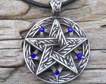 Pewter Double Pentagram Celtic Pagan Pentacle Pendant with Swarovski Crystal Sapphire Blue SEPTEMBER Birthstone (56I)