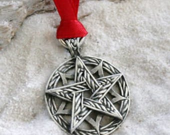 Pewter Double Pentagram Celtic Knot Pagan Wiccan Pentacle Christmas Ornament and Holiday Decoration (56I)
