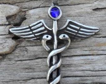 Pewter Caduceus Medical Nurse RN DR Snake Rod Pendant with Swarovski Crystal Sapphire SEPTEMBER Birthstone (35A)