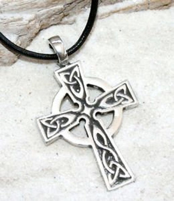 PEWTER Wales CELTIC CROSS Irish EMERALD GREEN Crystal MAY Birthstone Pendant