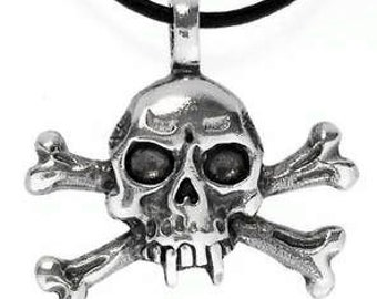 Pewter Skull and Crossbones Gothic Pirate Biker Pendant (23E)