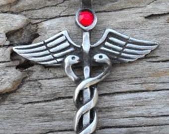 Pewter Caduceus Medical Nurse RN DR Snake Rod Pendant with Swarovski Crystal Ruby Red JULY Birthstone (35A)