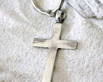 Pewter Cross Christian Shiny Silver Keychain Key Ring (316-KC)