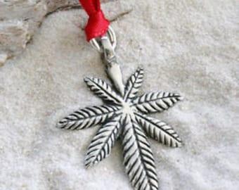 Pewter Pot Leaf Medical Marijuana Christmas Ornament and Holiday Decoration (56E)