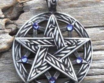 Pewter Double Pentagram Celtic Pagan Pentacle Pendant with Swarovski Crystal Lavender Tanzanite JUNE Birthstone (56I)