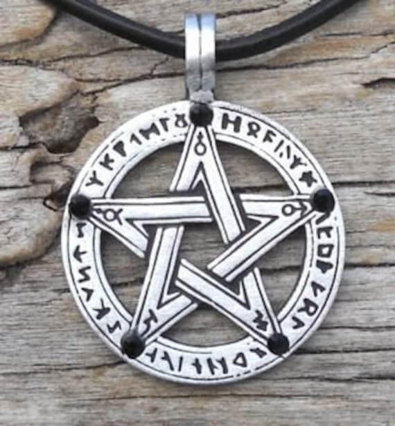 Estaño Pentagrama Colgante Collar de cordón negro ajustable en níquel libre Pentáculo