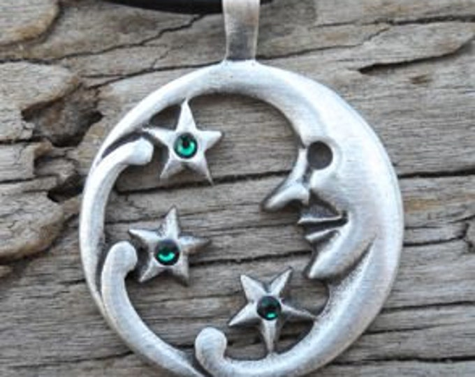 Featured listing image: Pewter Moon Face and Stars Lunar Celestial Pagan Pendant with Swarovski Crystal Emerald Green MAY Birthstone (39E)