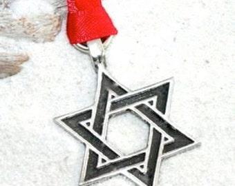Pewter Star of David Hanukkah Jewish Christmas Ornament and Holiday Decoration (55J)