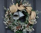 Rustic Vintage Silver Filigree Bells, Glitter Berry & Burlap Ribbon Front Door Christmas Winter Wreath