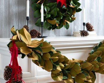 Real Touch Magnolia Leaf All Seasons Indoor/Outdoor Hanging Front Door Garland or Table Runner
