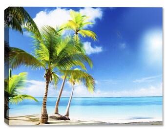 Tropical Beach & Palm Trees On Ocean #1 - Indoor Art or Outdoor Art