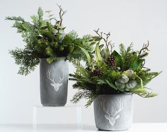 Mixed Winter Greens & Pinecone Rustic Holiday Centerpiece Arrangement in Cement Deer Pot - 2 Size Options