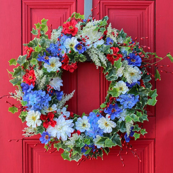 Red White Blue Summer Floral Patriotic Americana Decor Etsy