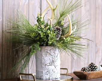Faux Antler, Long Needle Pine & Boxwood Rustic Winter Centerpiece Arrangement in White Birch Base- 2 Size Options